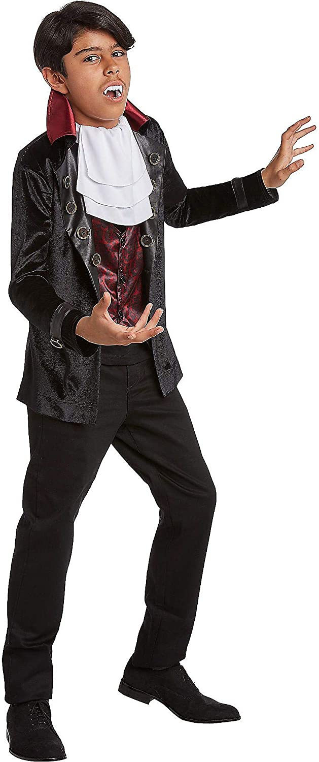 Jerry Leigh Velveteen Vampire Costume for Children, Includes a Jacket with an Attached Vest and an Ascot Tie