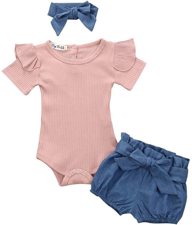 3Pcs Baby Girls Infant Clothes Set Romper Jumpsuit Bowknot Denim Shorts Outfits