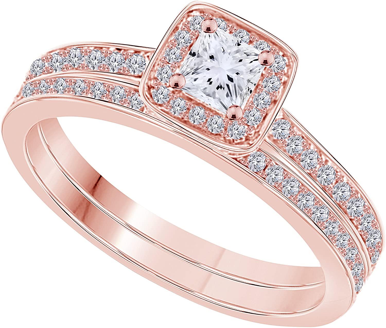 0.75 ct Princess Brilliant Cut White CZ Diamond 14K Rose Gold Over Halo Engagement Bridal Set Ring
