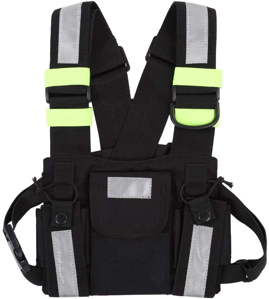 Socobeta Radio Chest Harness Case Yellow Reflective TYT Radio Harness Front Pack Vest Chest Bag Pouch for Walkie Talkie