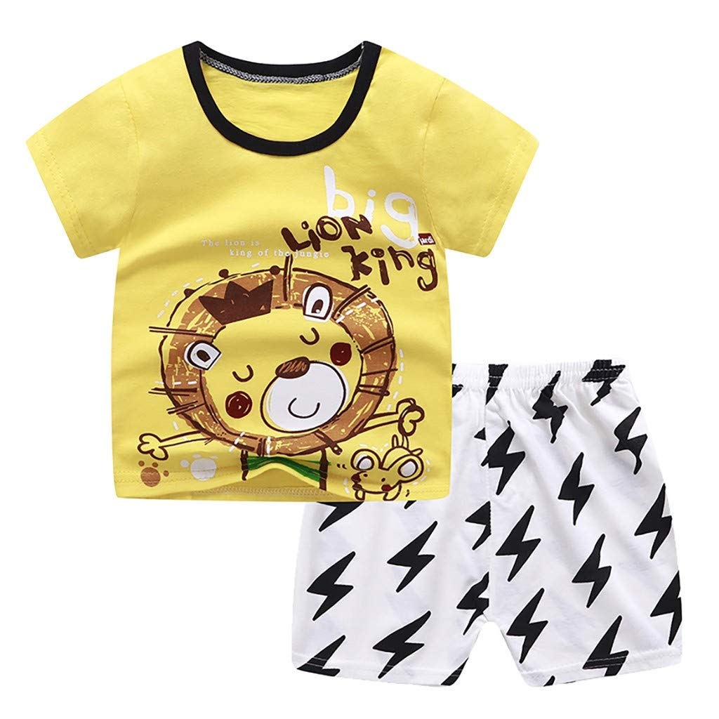 Baby Top & Pants Set, Toddler Child Baby Boys Girls Short Sleeve Cartoon Tops Shirt+Pants Outfits Set, Baby Clothes Onsale Brown 6-12 M