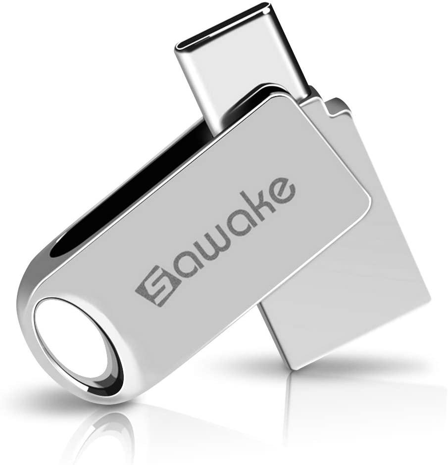 USB C Flash Drive, SAWAKE 32GB USB 3.0 Type C Waterproof Thumb Drive, Dual Drive Memory Stick with Keychain for Android Smartphone/New MacBook