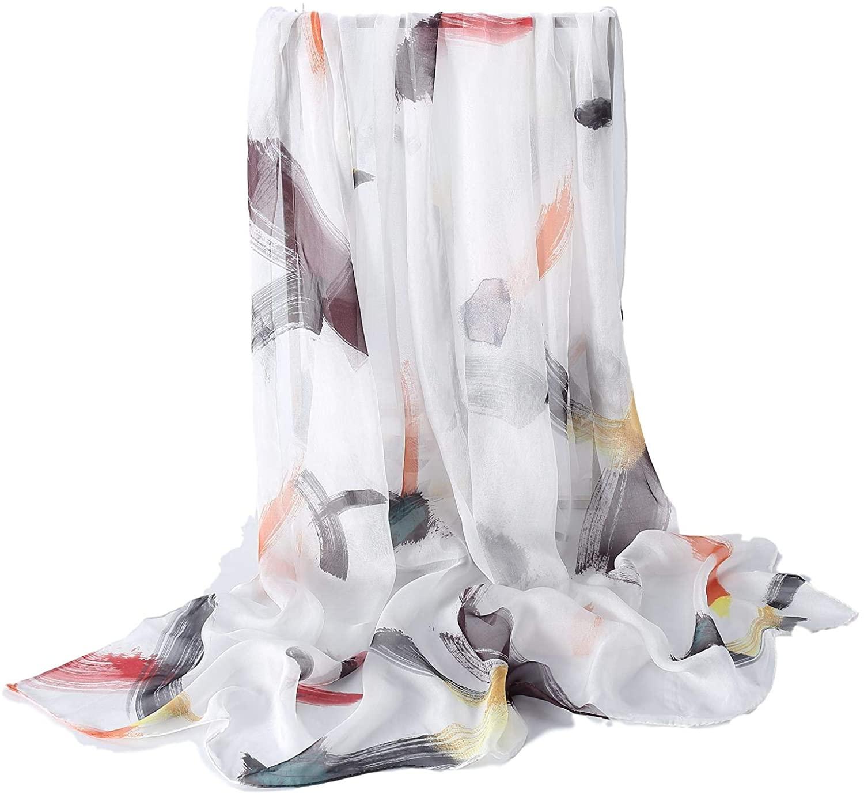 JWSilk Extra Wide Silk Chiffon Scarf Floral Print