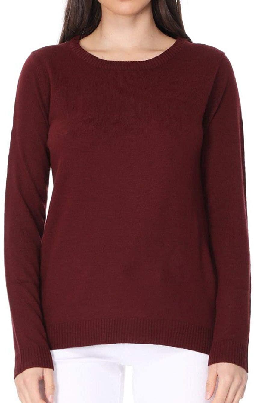 YEMAK Women's 3/4 Sleeve Crewneck Lightweight Basic Casual Knit Pullover Sweater