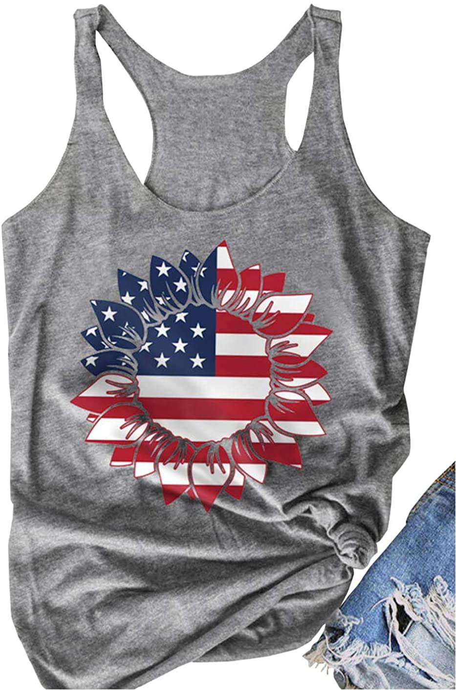 JCDZSW Women Summer Sunflower American Flag Shirt USA 4th of July Patriotic Flower T-Shirt Short Casual Hipster Tank Tops
