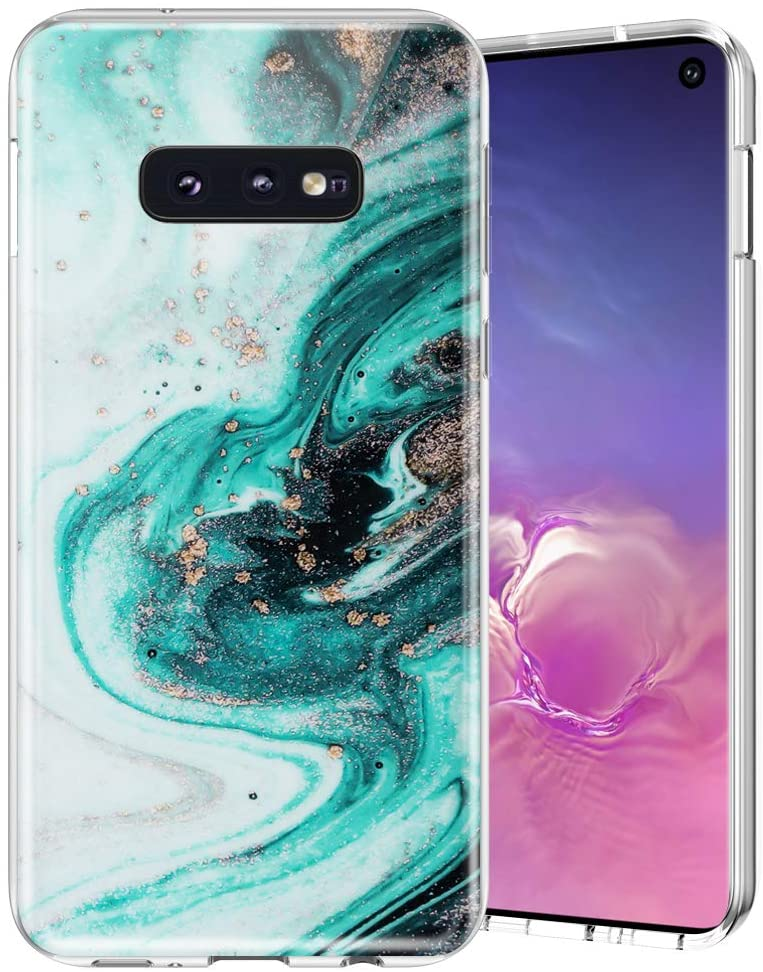 Caka Case for Galaxy S10e Marble Case Silicone Slim Anti Scratch Shockproof Luxury Fashion Soft Rubber TPU Protective Case for Samsung Galaxy S10e (Green)