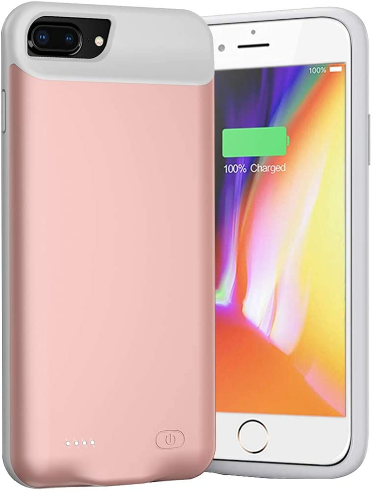 Battery Case for iPhone 8 Plus/7 Plus/6s Plus/6 Plus, 8000mAh Portable Charger Case Rechargeable Battery Pack Charging Case Compatible with iPhone 8 Plus/7 Plus/6s Plus/6 Plus (5.5 inch)-Rose Gold
