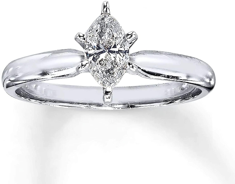 1/2 Carat Solitaire Marquise Moissanite Engagement Ring for Women 10k 14k 18k White Gold Free Engraving