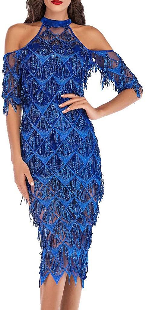 NREALY Dress Womens Halter Half Sleeve Off Shoulder Sequin Tassel Cocktail Prom Gown Dress