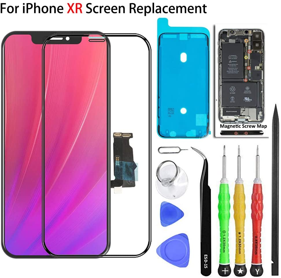 Screen Replacement for iPhone XR 6.1 inch LCD Touch Screen Display Digitizer Repair Kit Assembly with Complete Repair Tools