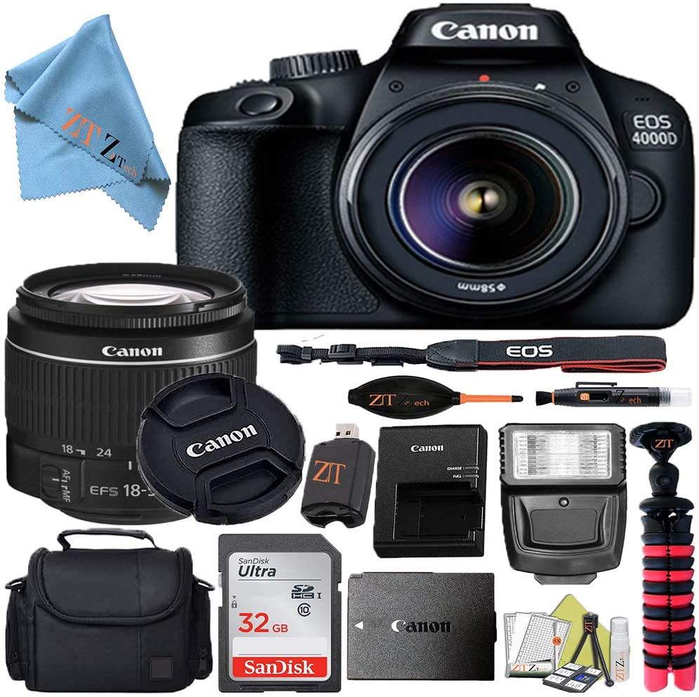 Canon EOS T100/4000D DSLR Camera w/Canon EF-S 18-55mm F/3.5-5.6 III Zoom Lens + Case + 32GB SD Card + More + ZeeTech Cloth (Starter 32GB)