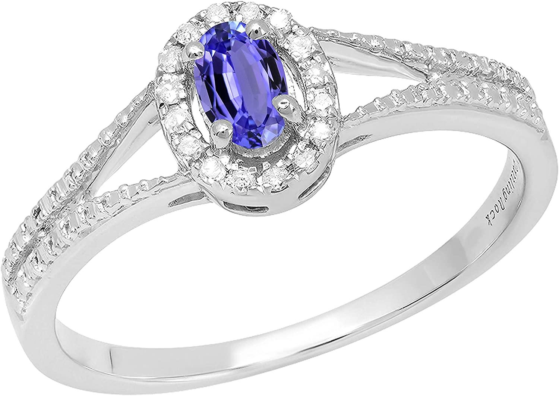 Dazzlingrock Collection 5X3 MM Oval Gemstone & Round Diamond Ladies Halo Split Shank Engagement Ring, Sterling Silver