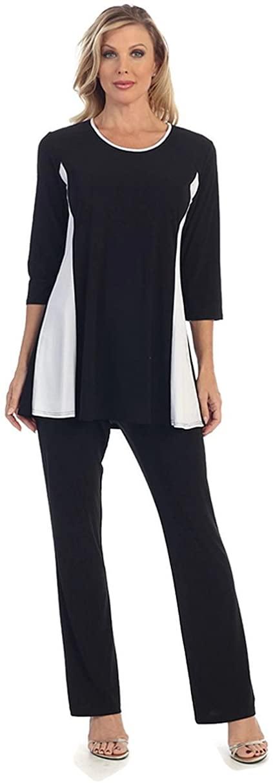 Caribe Women's Black Tunic with White Side Trim Reg & Plus Size