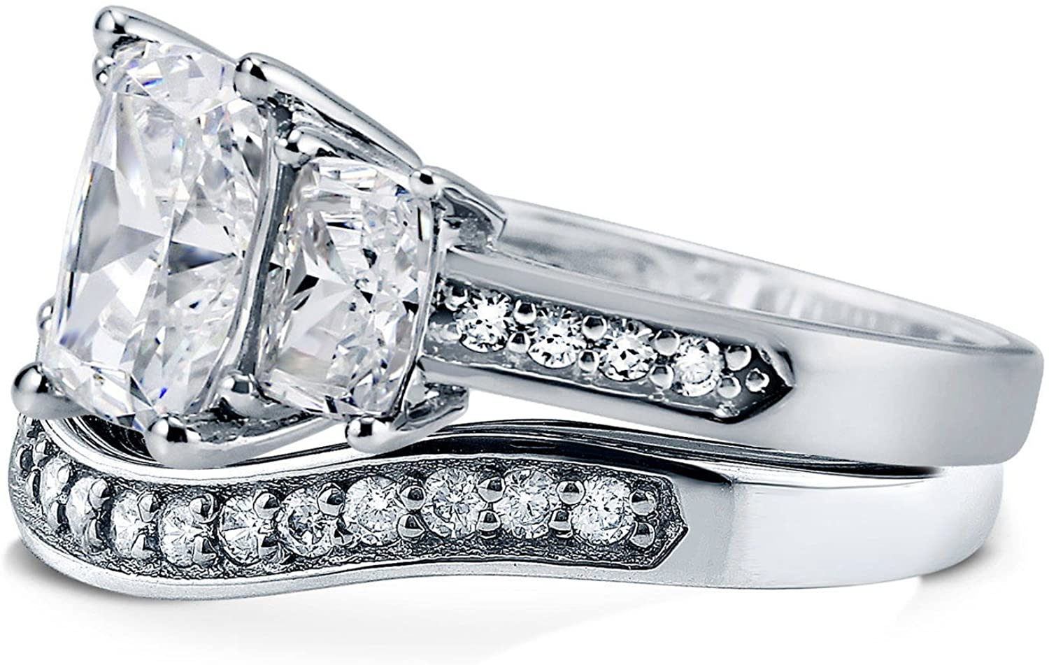 BERRICLE Rhodium Plated Sterling Silver Cushion Cut Cubic Zirconia CZ 3-Stone Anniversary Engagement Wedding Ring Set 4.31 CTW