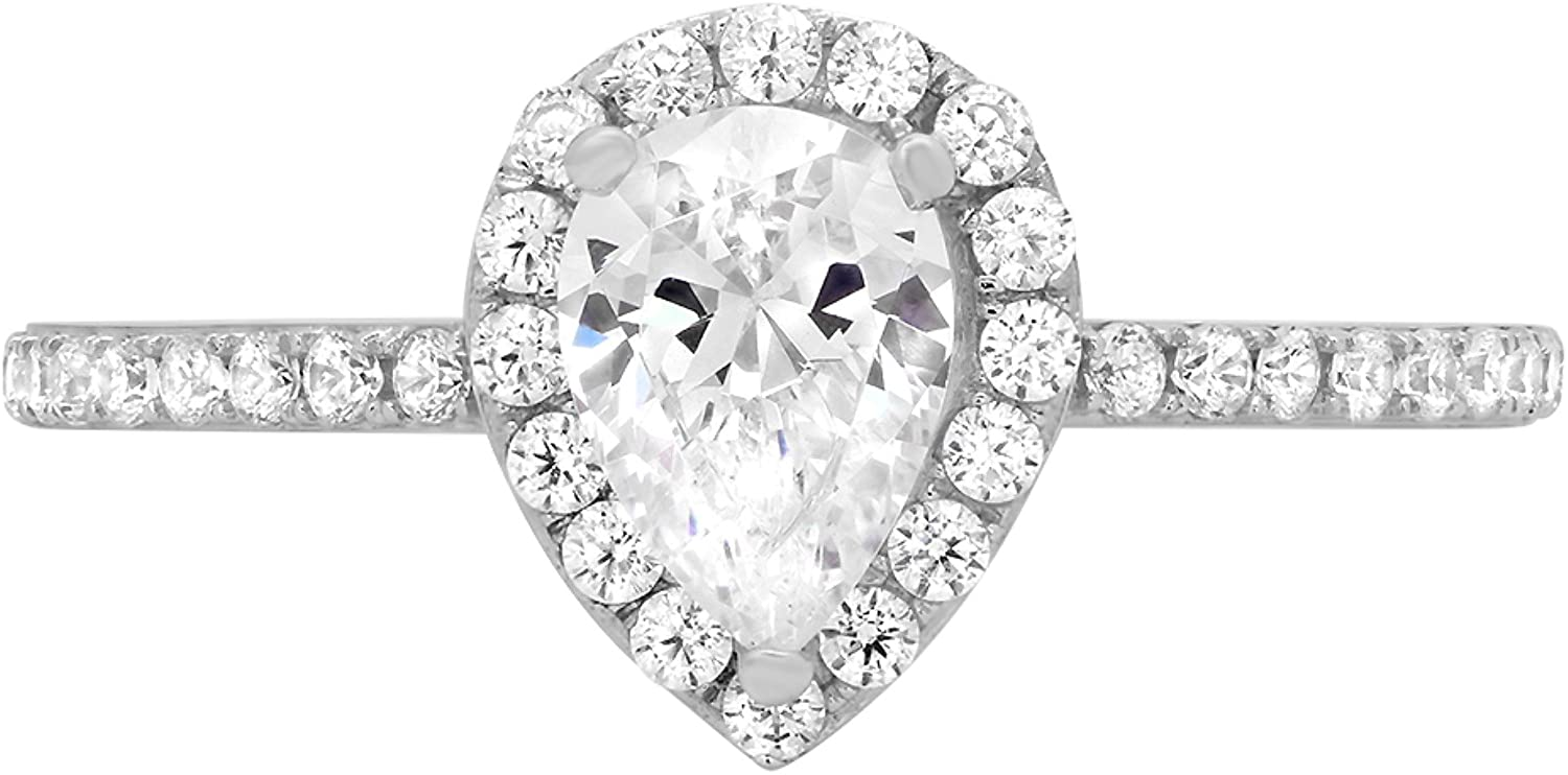 1.42ct Brilliant Pear Cut Halo Wedding Anniversary Promise Engagement Statement Bridal Ring 14k White Gold