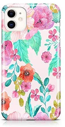 Casely iPhone 11 Out and About Light Pink Floral Hard Shell Phone Case - 360 Degree Coverage for Your iPhone - Precise Cutouts, 1MM Raised Lip Camera Protection, Charge Wirelessly - Classic