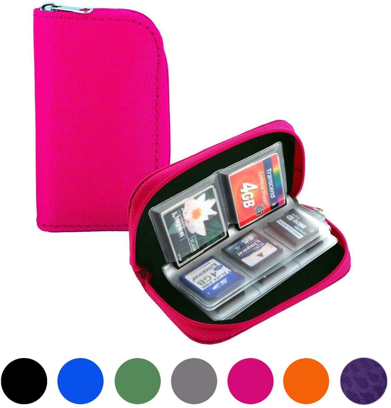Mixtecc Memory Card Case - Carrying Case Suitable for SDHC/SD Cards, with 8 Pages and 22 Slots Card Holder Bag Wallet for Media Storage Organization (Pink)