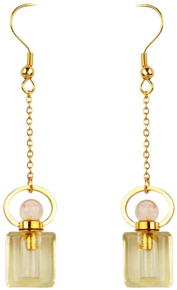 ZENGORI 1 Pair Pretty Fashion Perfume Bottle Natural Multi-kind Gemstones Long Dangle Earrings