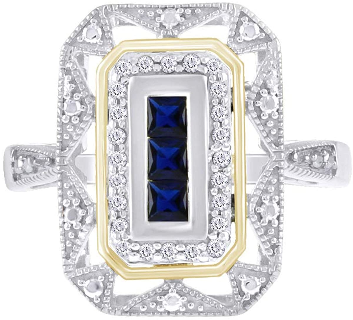 Sterling Silver Simulated Blue Sapphire & Diamond Accent Art Deco-Style Ring (1/10 cttw, I-J Color, I3 Clarity)