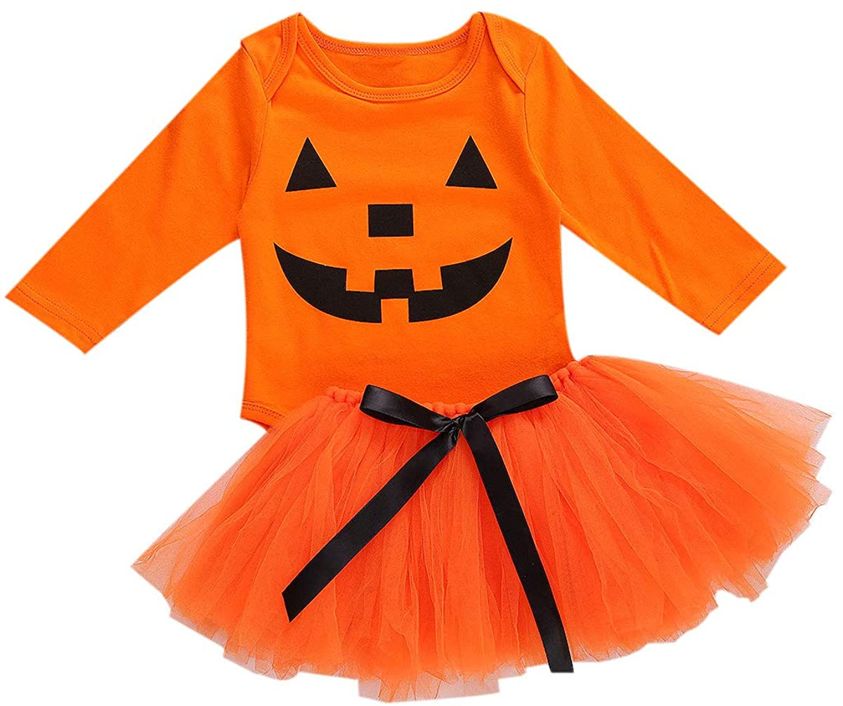 Newborn Baby Girl Halloween Costume Long Sleeve Pumpkin Print Romper Bodysuit Top+Lace Tulle Tutu Skirt 2PCS Outfit Set