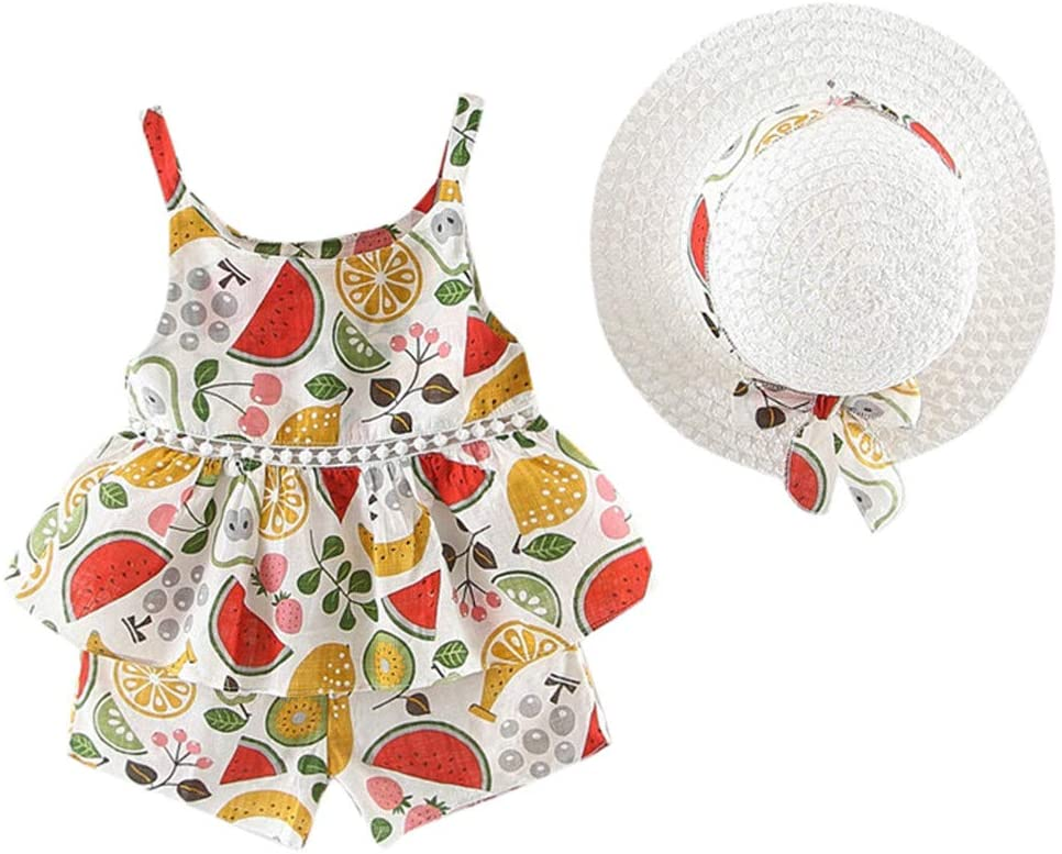 Clothful_Clothes Toddler Baby Kids Girls Floral Fruit Strap Tops Shorts Outfits Hat Casual Set