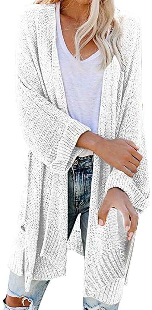 Cardigan Sweaters for Women Lightweight,Women's Open Front Long Sleeve Boho Boyfriend Knit Chunky Cardigans with Pockets