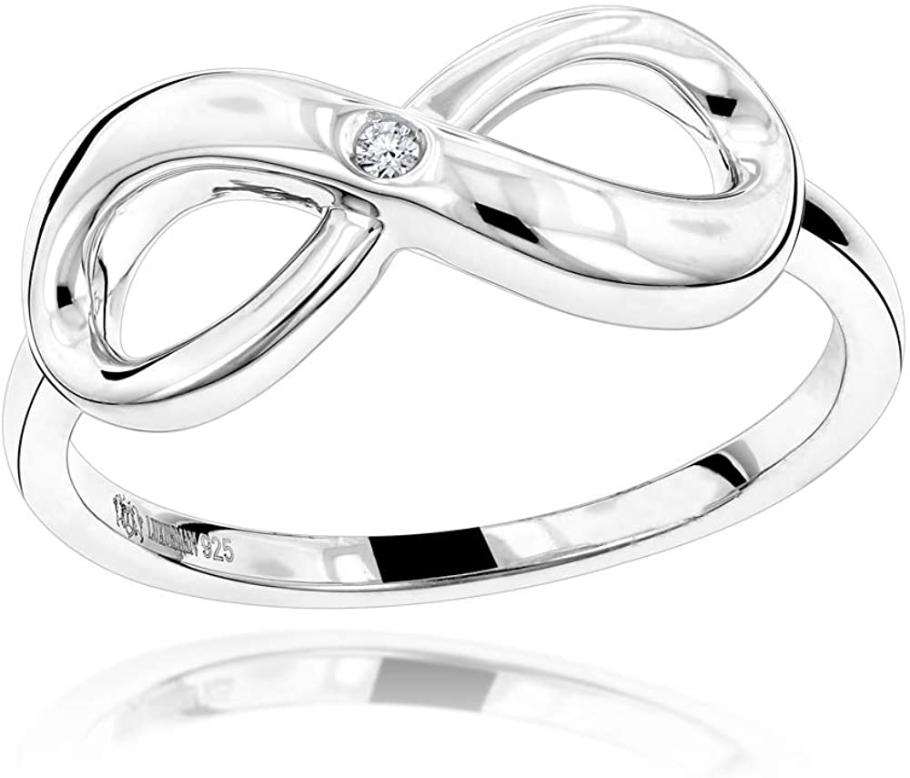 Sterling Silver Infinity Diamond Ring For Women Luxurman Love Quotes Jewelry