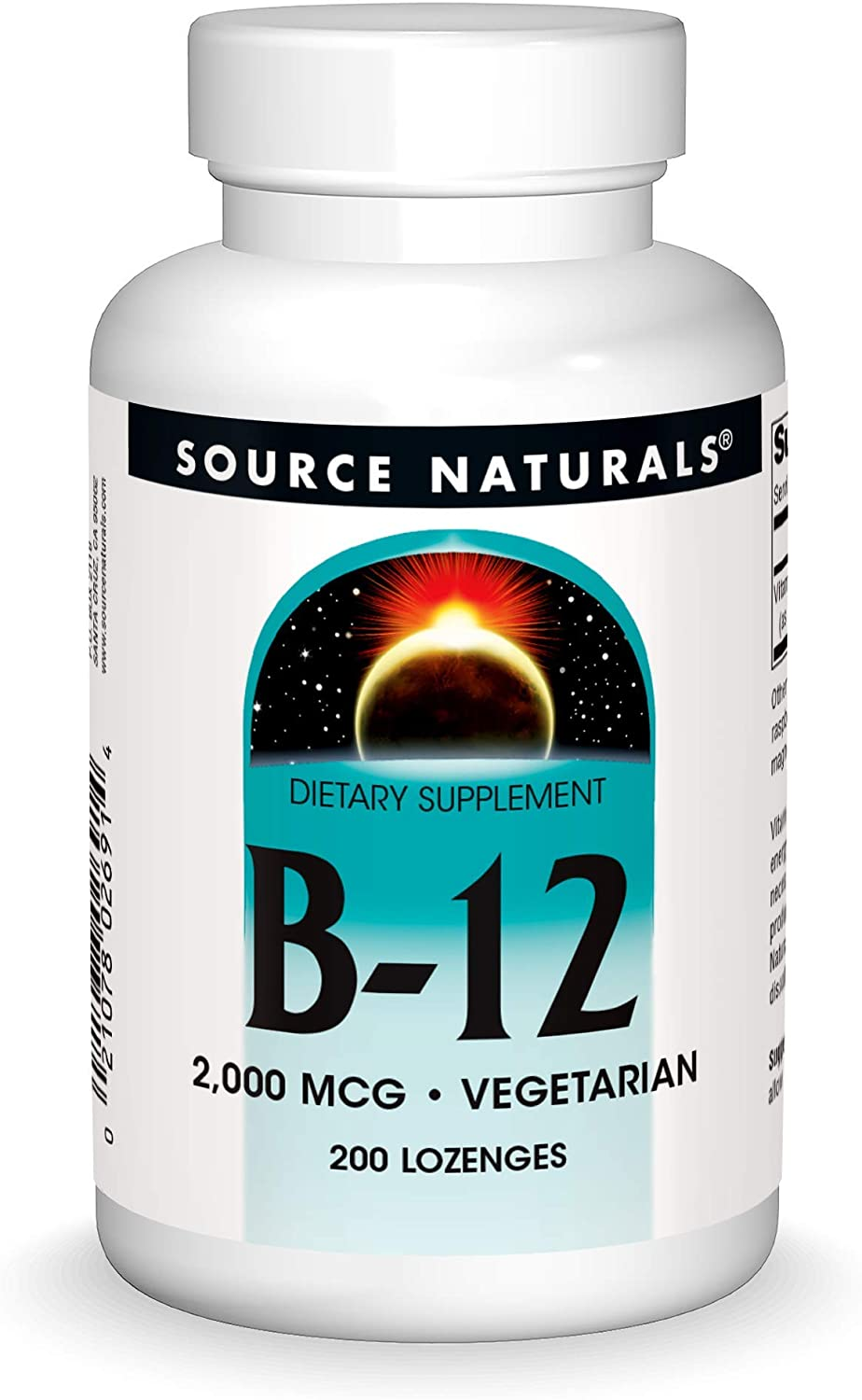 Source Naturals Vitamin B-12, 2000 mcg Supports Energy Production - 200 Lozenges