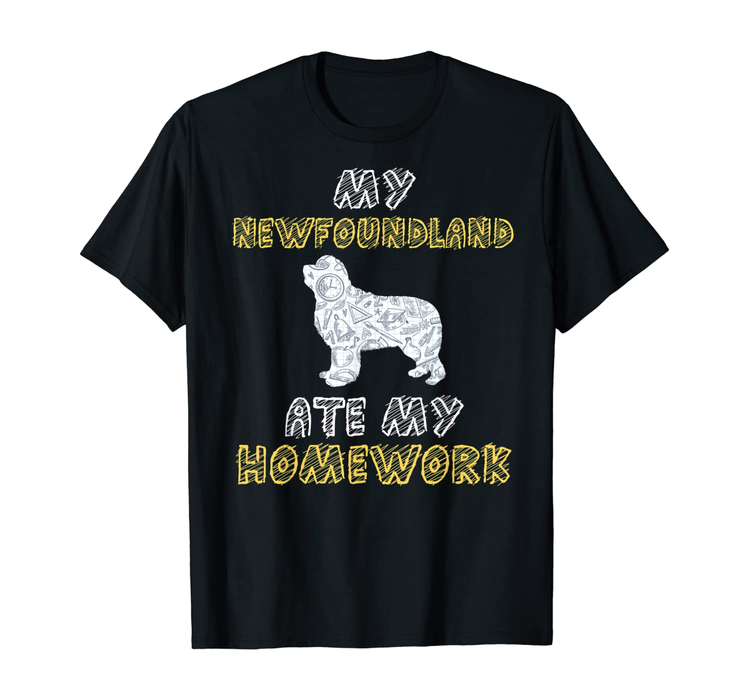 My Newfoundland Ate My Homework Dog Pup Kid Back To School T-Shirt