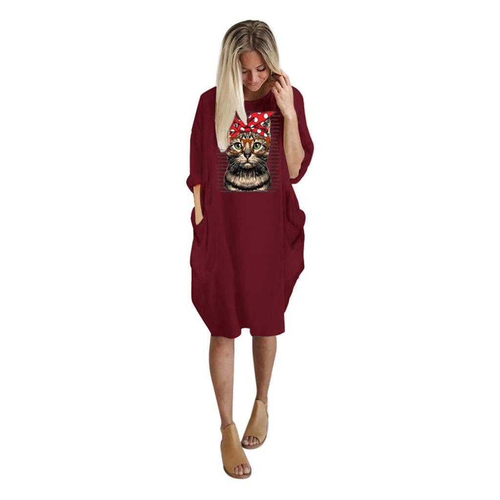 Women Summer Long Sleeve Printed Cat Short Mini Dress Dress Long Sleeve Women Fashion Casual Print Party