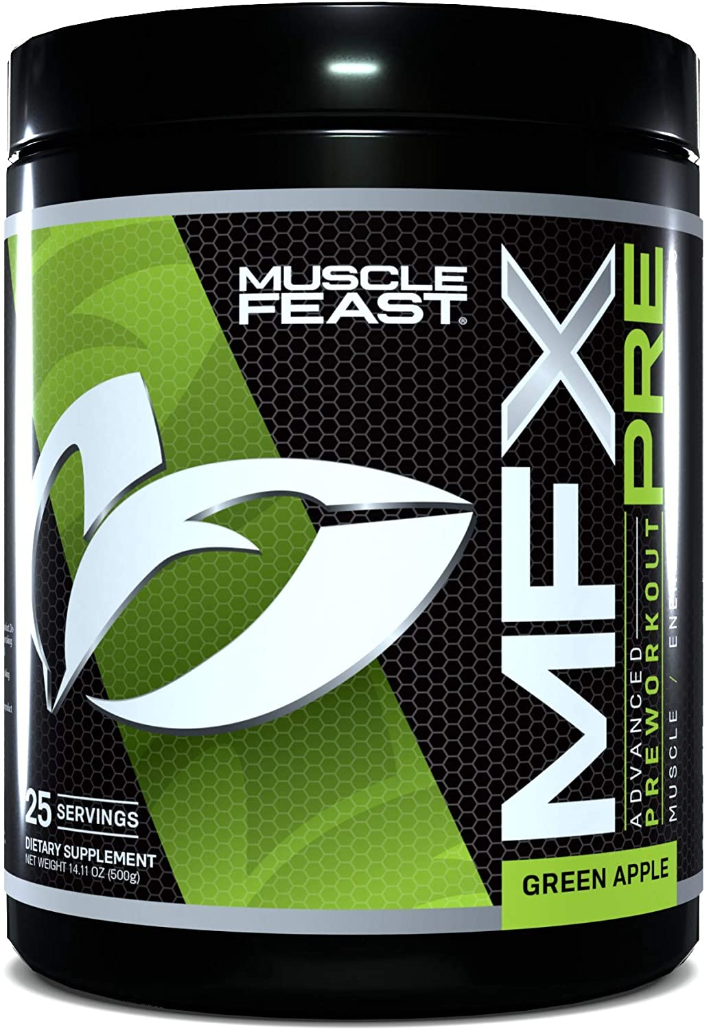 MUSCLE FEAST MFX PRE, Intense Preworkout Powder, CarnoSyn®, Natural Caffeine, Nitric Oxide, 25 Servings, 500g Container (Green Apple)
