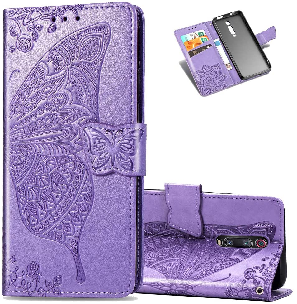 Asdsinfor Xiaomi Redmi K20 / K20 Pro Case Stylish Embossing Wallet Case Credit Cards Slot with Stand for PU Leather Shockproof Flip Magnetic Case For Xiaomi Mi 9T / Mi 9T Pro Butterfly Light Purple SD