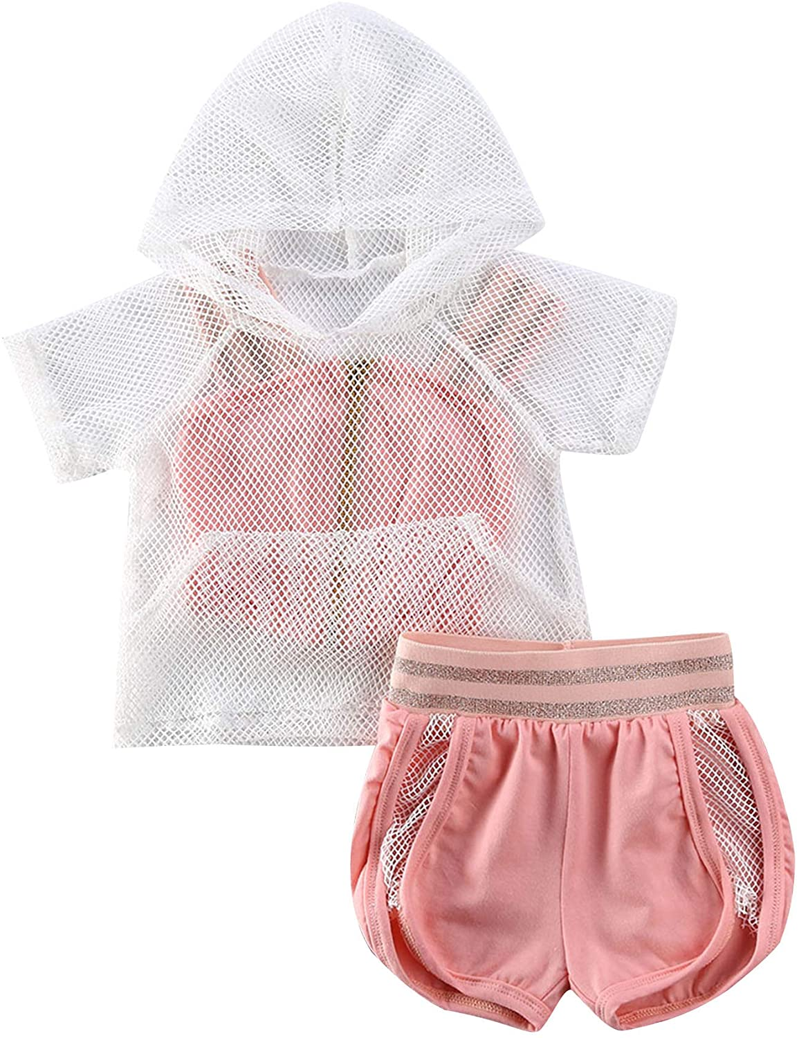 Toddler Baby Girl Clothes Mesh Hoodie Pullover Top+Zipper Strap Crop Top+Shorts 3PCS Tracksuit Sports Set