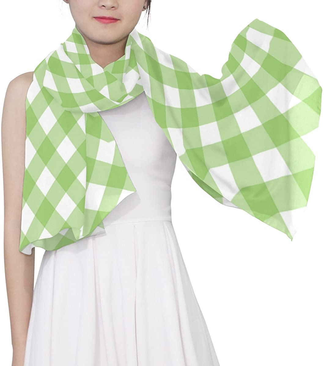 WellLee Green Gingham Sheer Scarves Shawl Wrap Women Oblong Chiffon Scarf for Outdoor