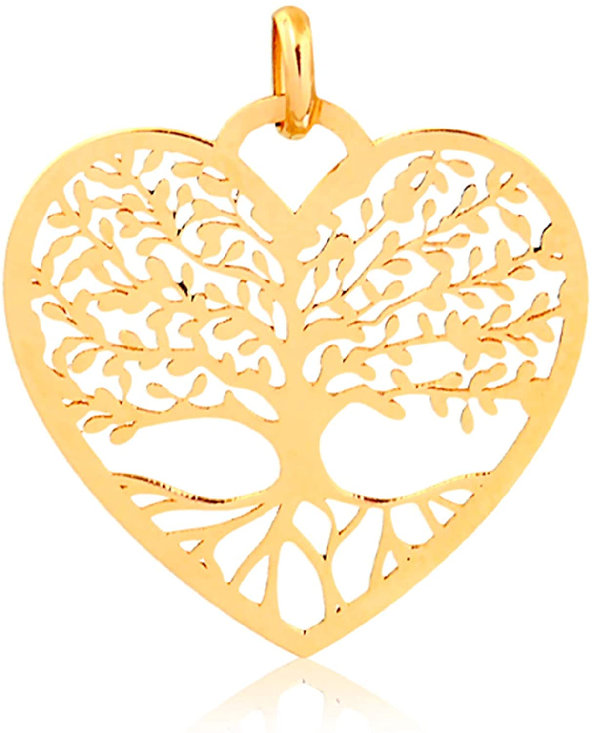 Carol Jewelry 14k Solid Yellow Gold Family Tree of Life Heart Shaped Pendant for Necklace for Women