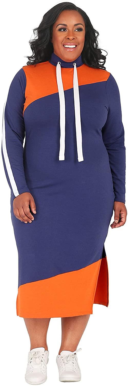 Poetic Justice Plus Size Curvy Women's Athletic Drawstring Turtleneck Midi Dress
