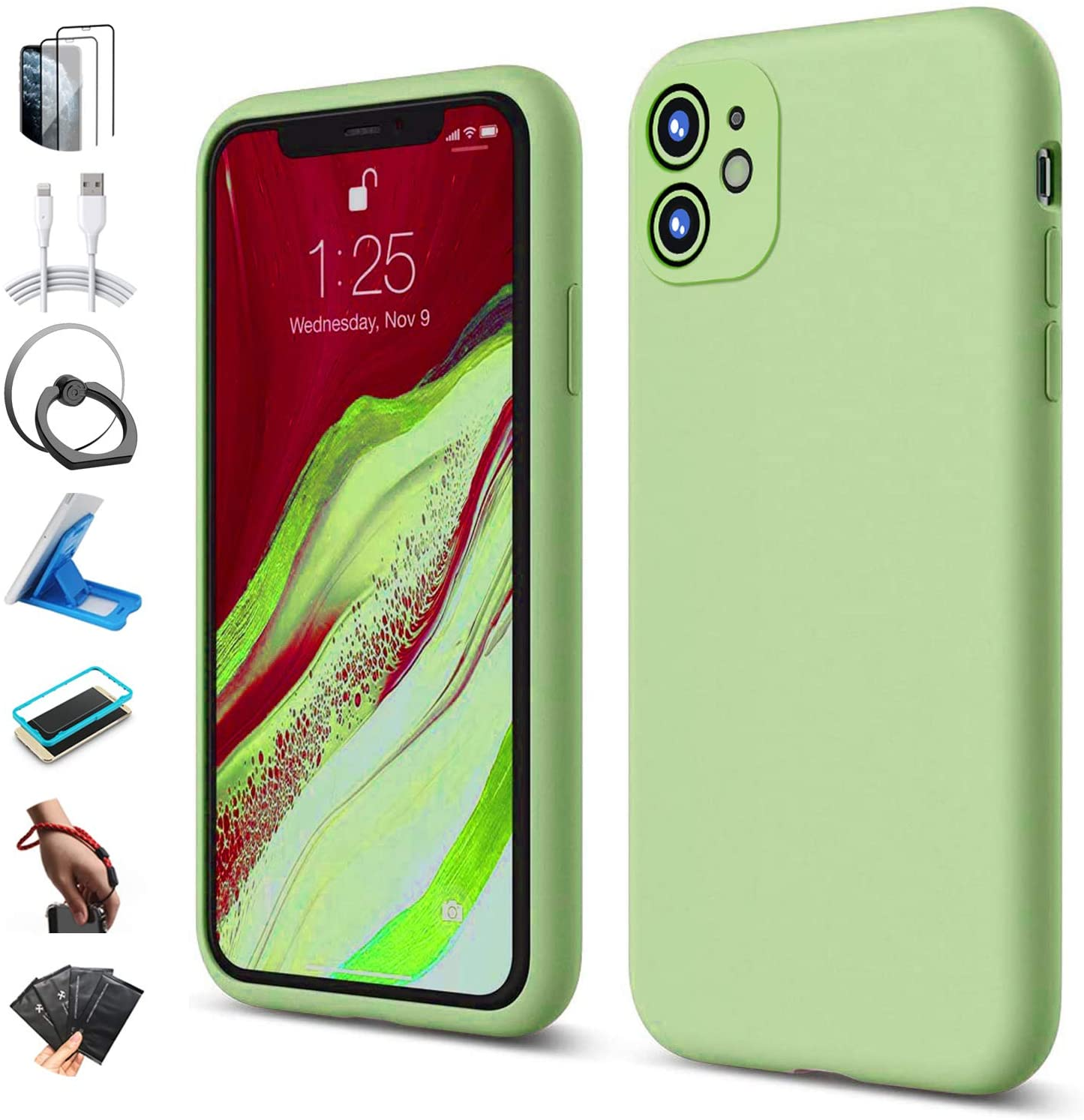 iPhone 11 Case Silicone, with 2 Pcs Tempered Glass Screen Protector, Cute Slim Soft Liquid Silicone Gel Rubber Bumper Case, Shockproof Microfiber Lining Protective Case Cover for iPhone 11 - Green