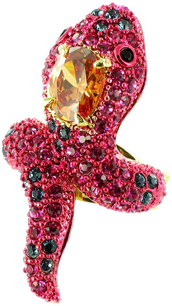 Pink on Gold Plated Crystal Bling Snake Ring