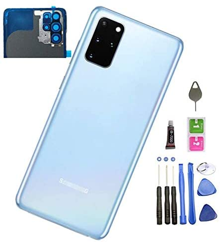 Galaxy S20 Plus Back Glass Replacement Back Cover Glass Housing Door with Camera Lens and Pre-Installed Tape for Samsung Galaxy S20 Plus S20+ with Tools (Cloud Blue)