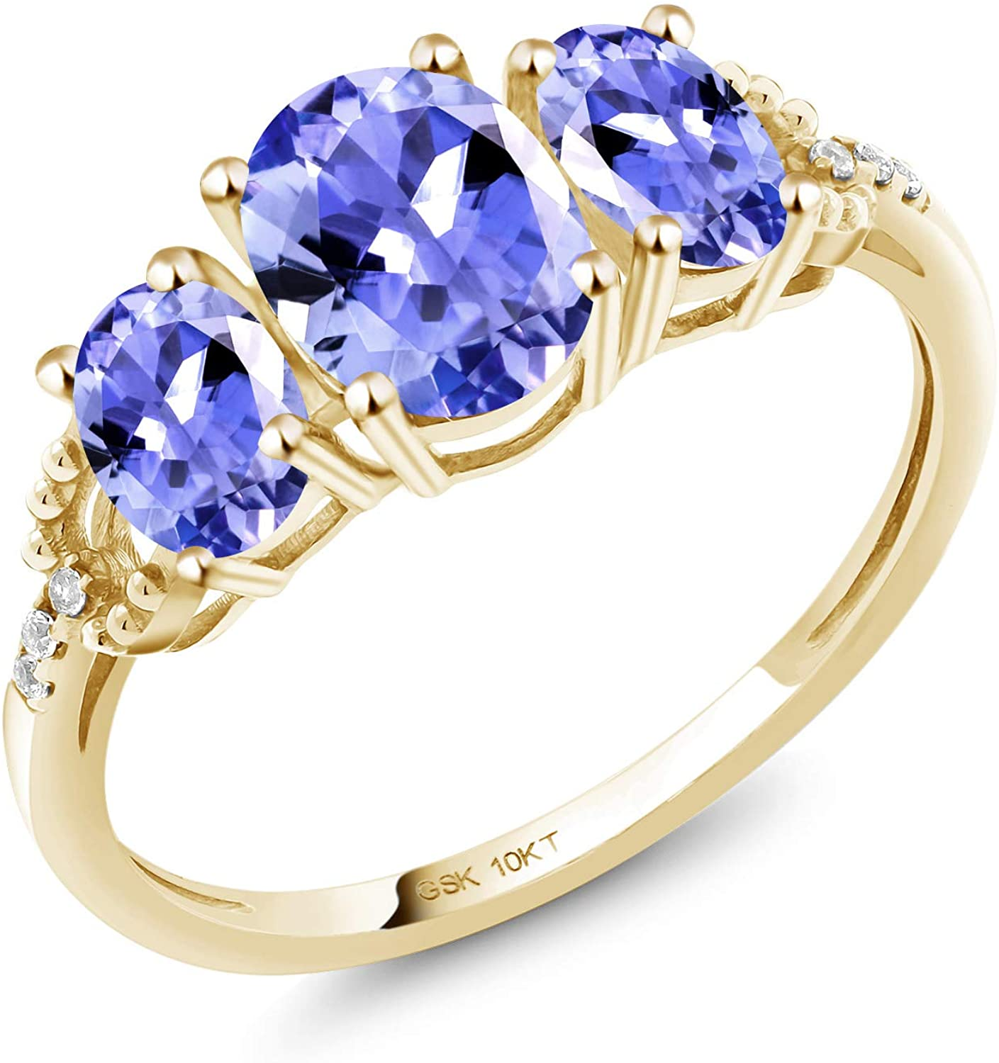 Gem Stone King 10K Yellow Gold Oval Blue Tanzanite Women's Engagement Ring (1.67 Ct Gemstone Birthstone Available in size 5, 6, 7, 8, 9)