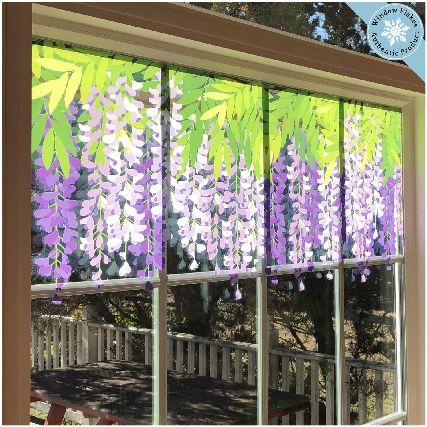 Flower Window Clings - Purple Hanging Wisteria Window Decals Border - Adhesive Free Spring Decorations Window Stickers - Reusable Glass Door Sticker Decals