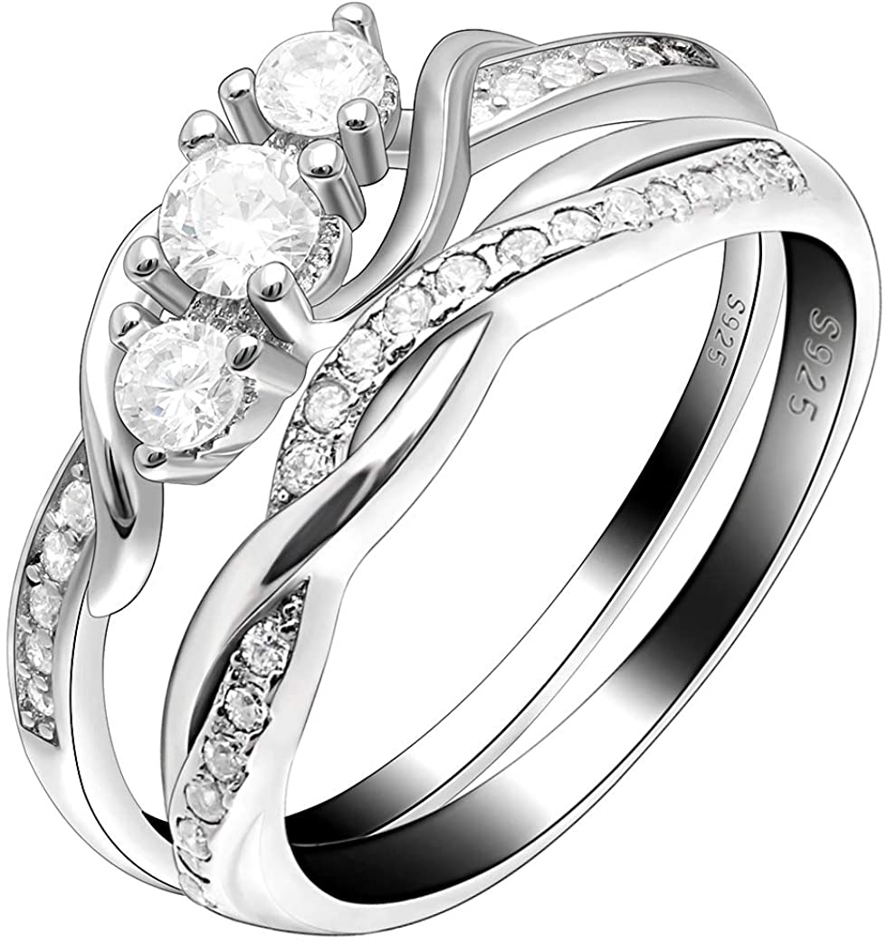 Ginger Lyne Collection Lydia Bridal Set Sterling Silver Three Stone Cubic Zirconia Cz Simulated Diamond Engagement Ring Wedding Band for Women Promise Jewelry