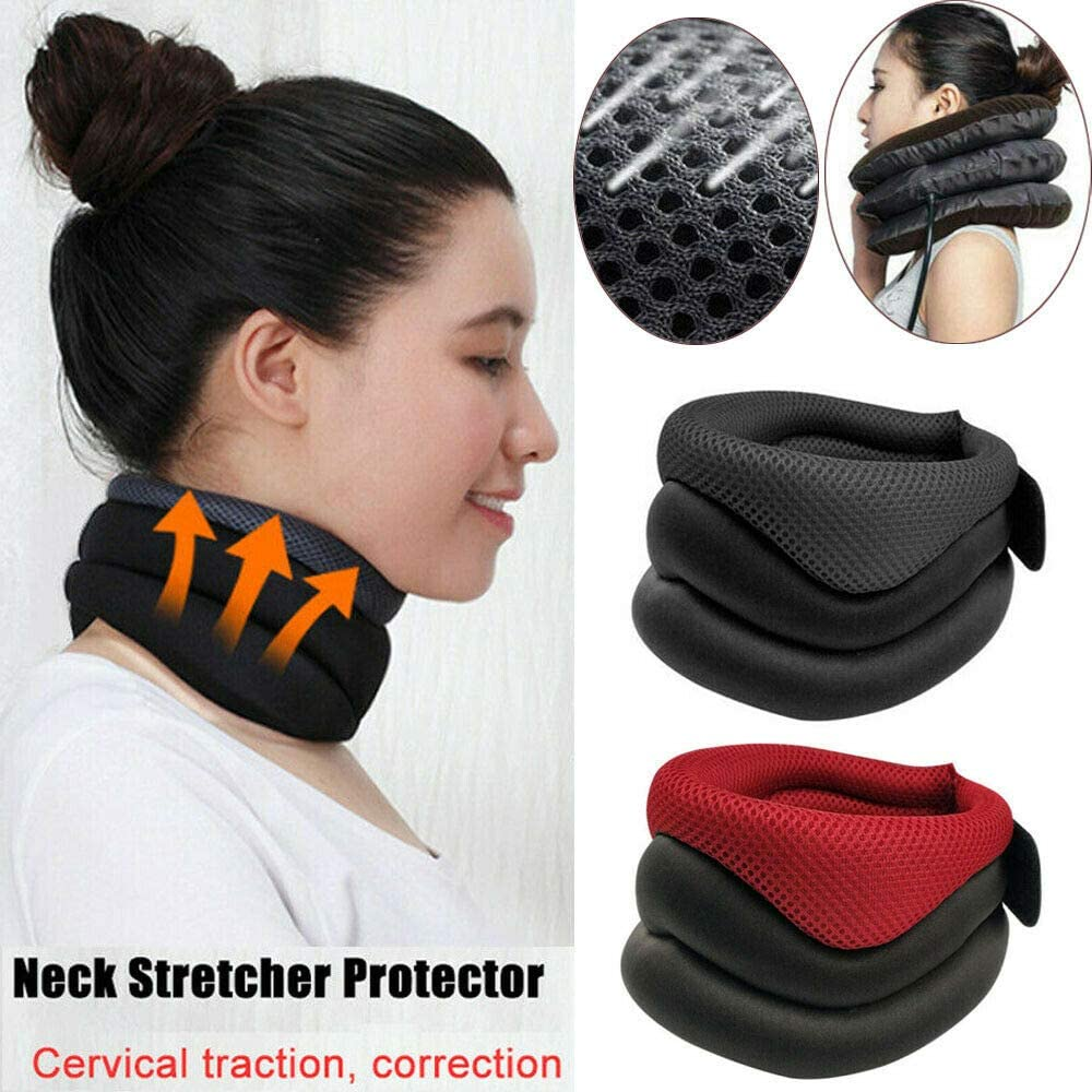 1PC Neck Support,Cervical Neck,Cervical Traction Device Brace Collar Protector Belt Massage Neck Posture Pain Relief Correcto,Collar Brace,Grey