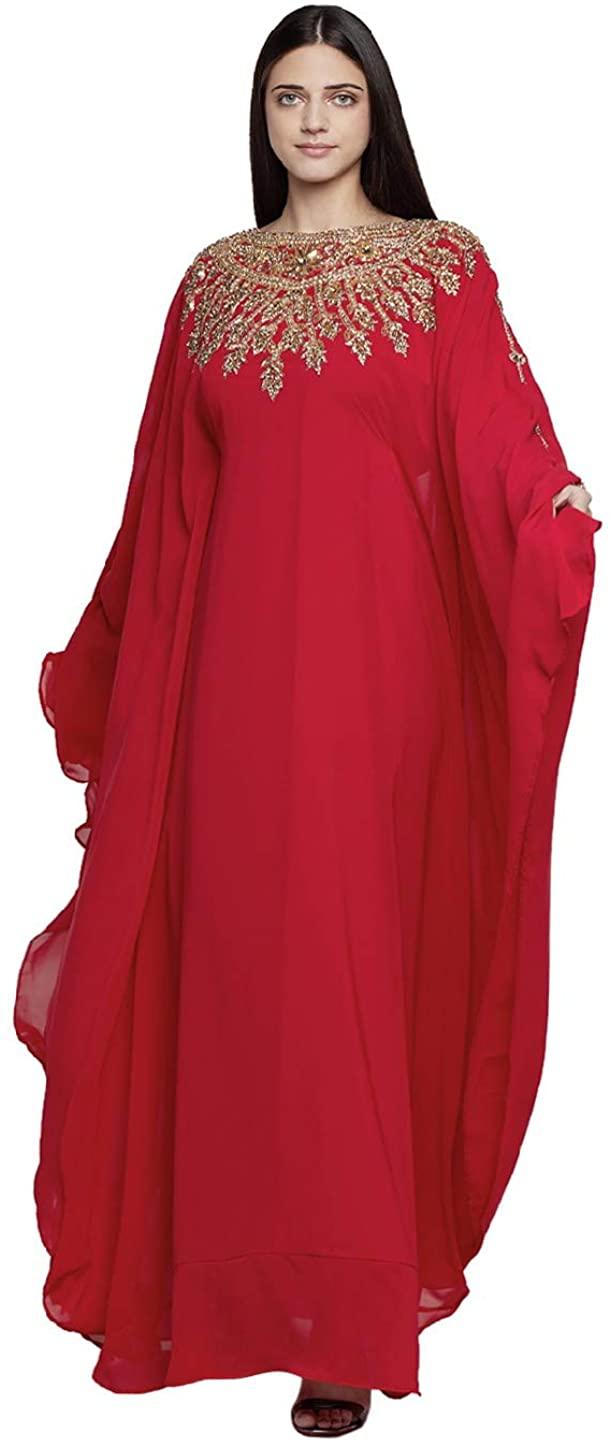 Women Dubai Kaftan Farasha Caftan Long Maxi Dress Free Size Long Sleeves Evening Dress with Free Scarf