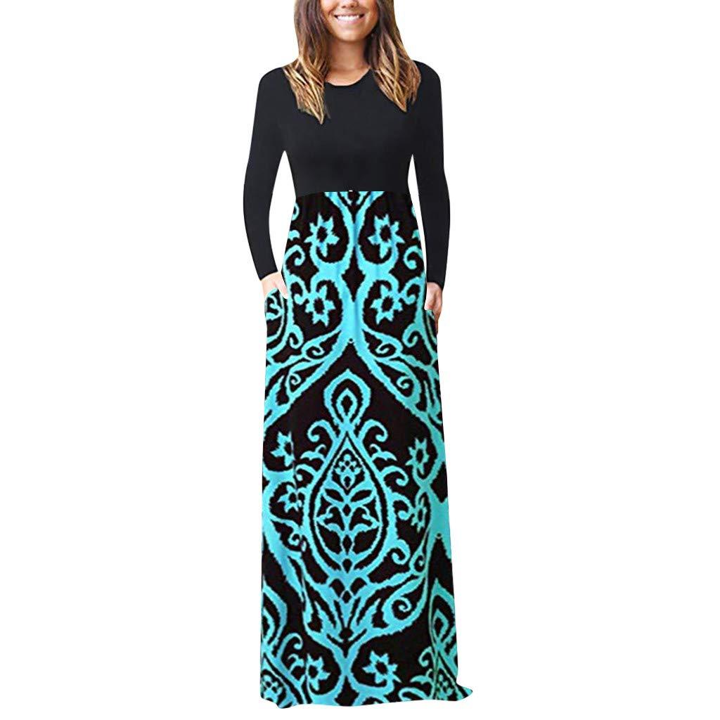 Women Dress Women's Casual Sleeve O-Neck Print Maxi Tank Long Dress Round Neck Blue White Black Light Blue Orange