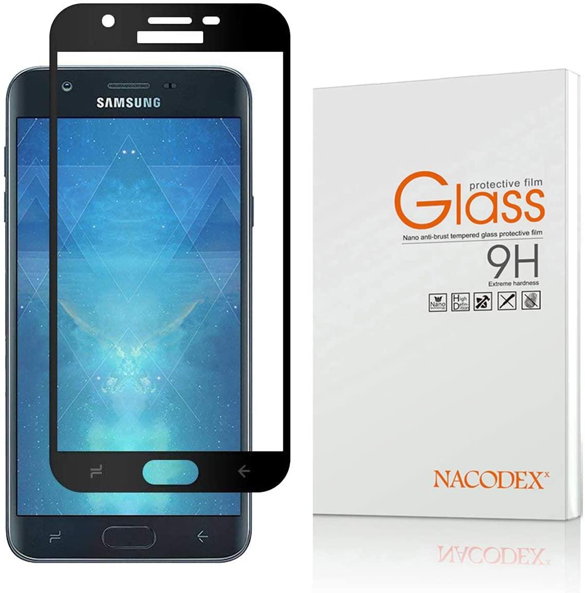 Full Coverage Screen Protector Compatible Samsung Galaxy J7 Refine 2018, Nacodex Anti-Scratch -Black Tempered Glass for J7 Star/J7 Eon 2018