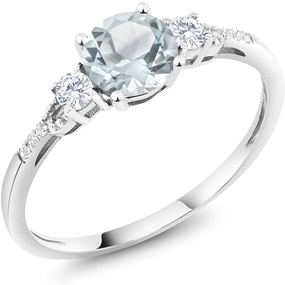 Gem Stone King 10K White Gold Sky Blue Aquamarine White Created Sapphire and Diamond Accent 3-stone Women Engagement Ring 0.90 Cttw (Available 5,6,7,8,9)