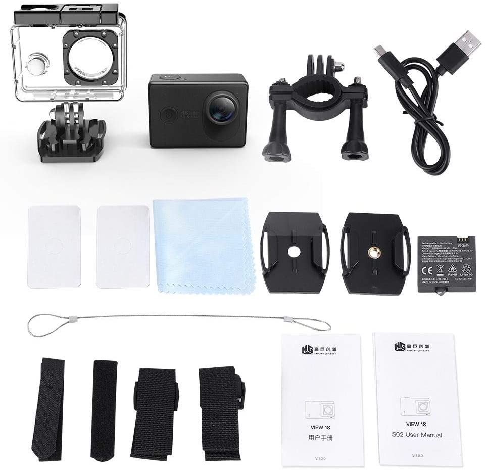 WiFi HD Sports Action Camera,4K/30fps 2.35'' Touch Screen,30M Waterproof,152° Wide Angle Electric Anti-Shake,8 Mode Video Camera Kit with Underwater Case for Photography Lovers(Black)