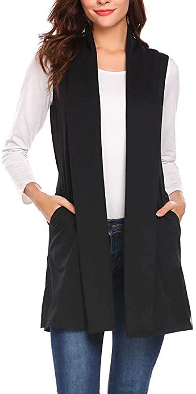 Adreamess Women Vest Coat Winter Sleeveless Cape Shawl Pocket Draped Casual Warm Open Front Cardigan Outwear