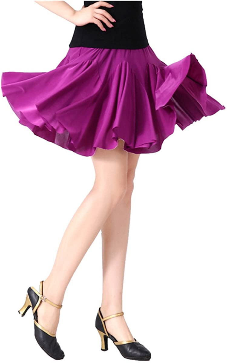 Women Latin Dance Skirt Salsa Tango Rumba Cha Cha Dancing Costume Dress w/Shorts